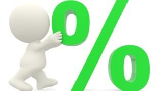 3D man pushing percentage sign